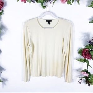 Eileen Fisher | cream silk long sleeve tee